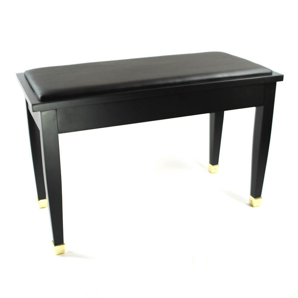 Frederick Duet Piano Bench - Ebony Satin with Brass Leg Cuffs