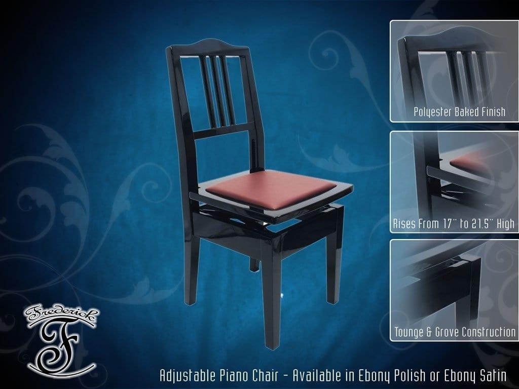 Frederick Piano Chair - Ebony Satin