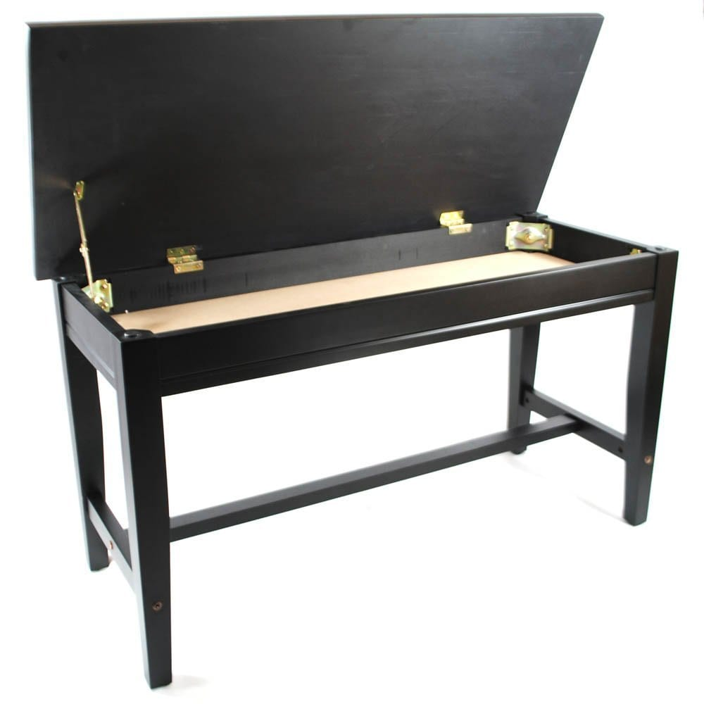 Frederick Extended Upright Piano Bench - Ebony Satin