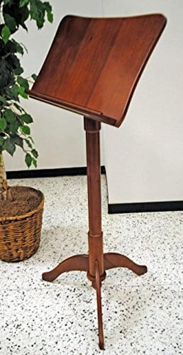Frederick Art Case Adjustable Music Stand - Prussian Design - Satin Walnut