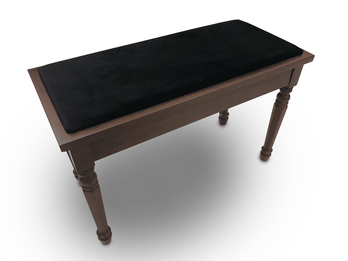 Frederick Walnut Duet Piano Bench - Padded Top w/ Traditional Legs