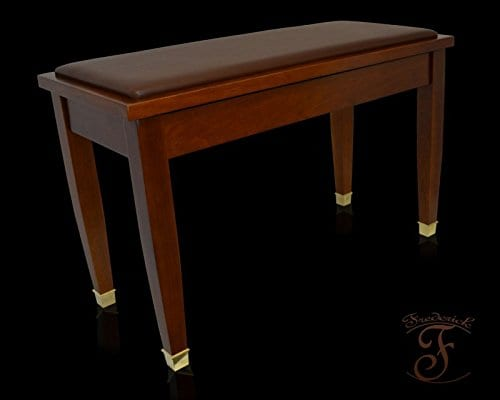 Frederick Deluxe Piano Bench Walnut Satin with Brass Ferrules