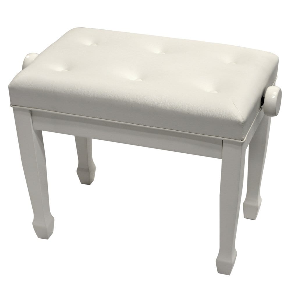 Frederick Artist Tufted Upright Piano Bench White Polish
