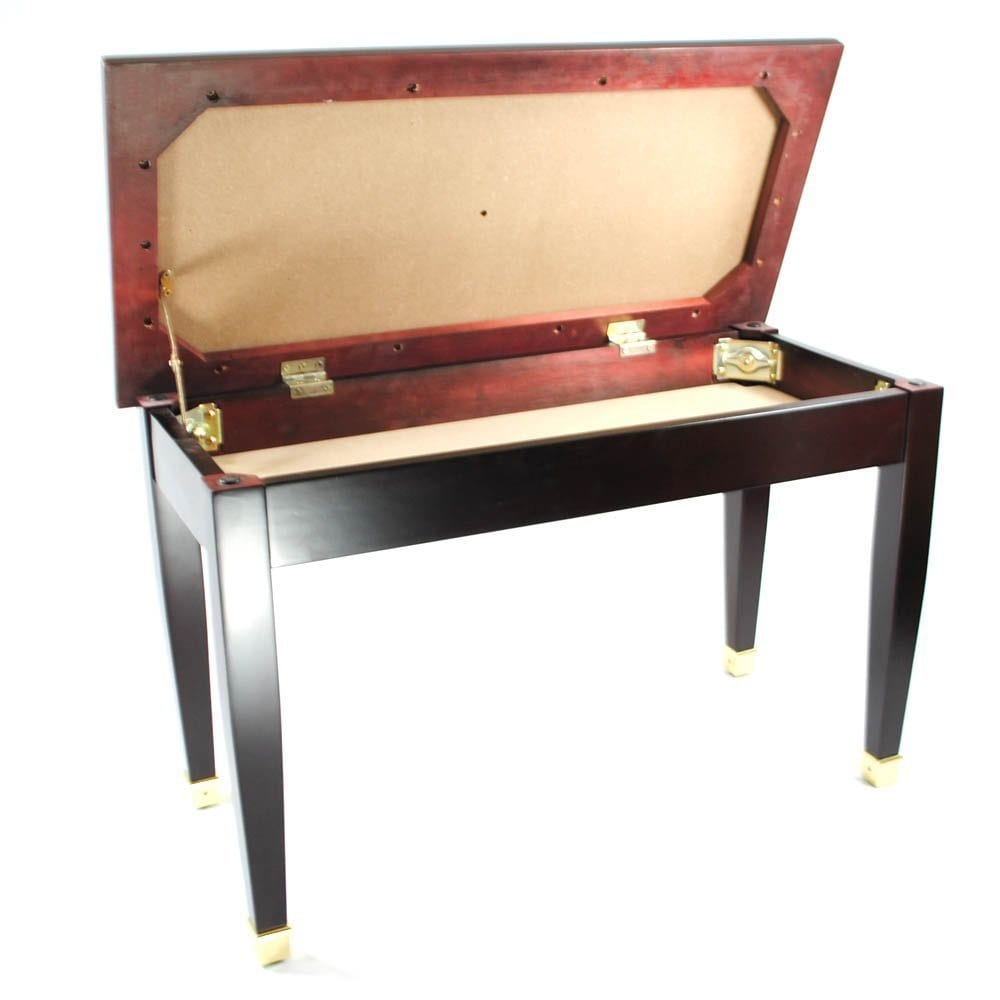 Frederick Duet Piano Bench Mahogany Satin with Brass