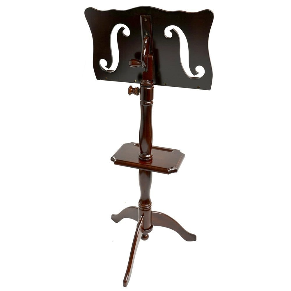 Frederick Adjustable Music Stand with Rack - Cherry Mahogany - F-Hole Style