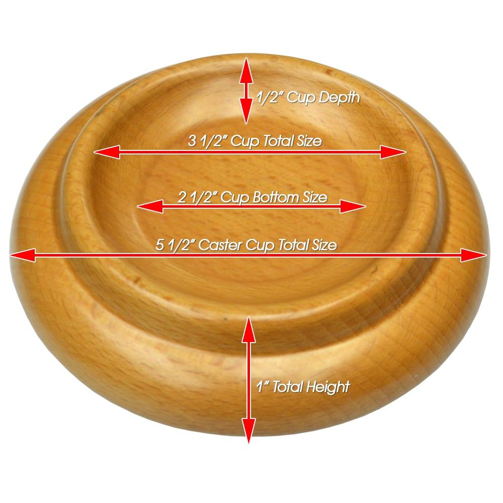 Premium Wood Piano Caster Cups - Natural