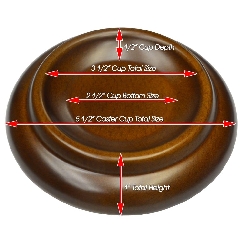 Premium Wood Piano Caster Cups - Walnut