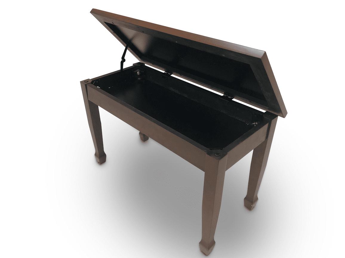 Frederick Walnut Piano Bench - Duet Padded Top w/ Spaded Legs