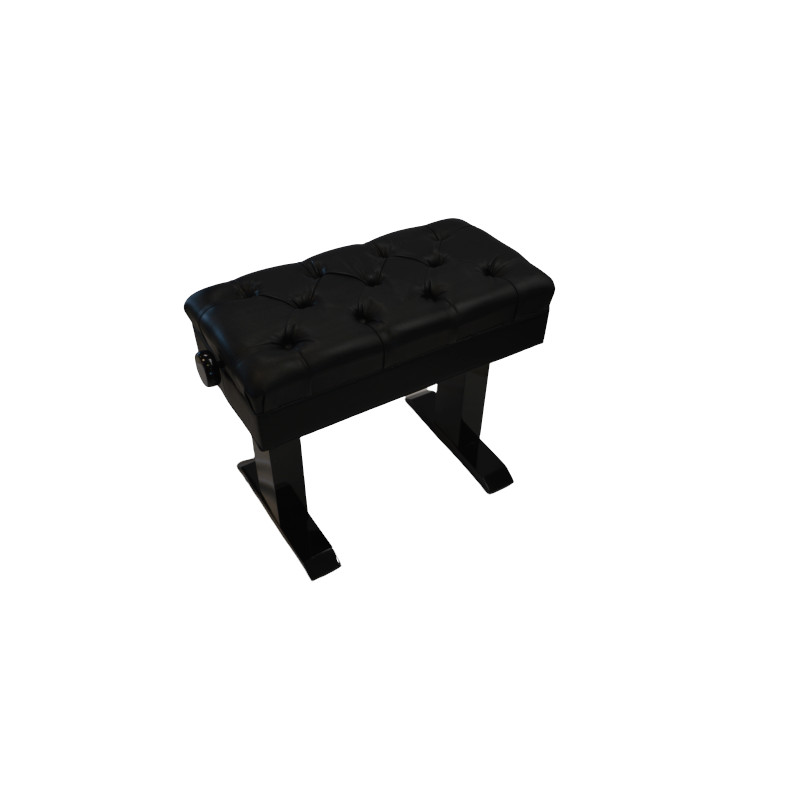 Elite Adjustable Piano Bench TUFTED - Ebony Polish