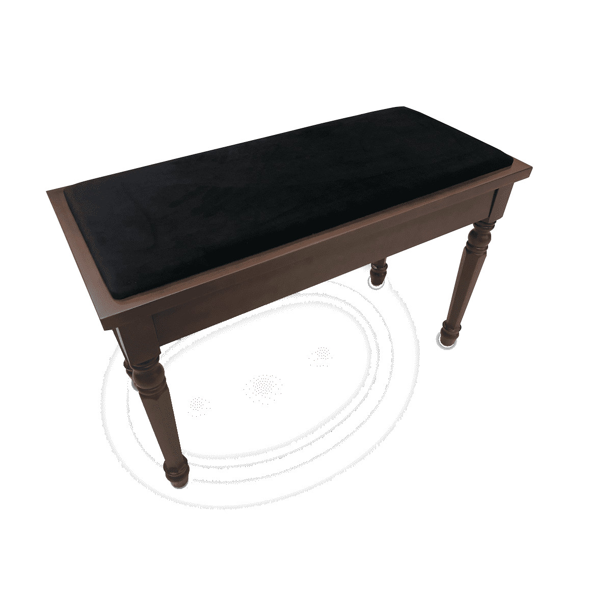 Frederick Walnut Piano Bench - Duet Padded Top w/ Spaded Legs